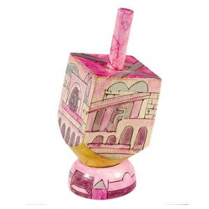 Hand Painted Wood Dreidel on Stand with Pink Jerusalem Images Small - Yair Emanuel