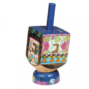 Hand Painted Wood Dreidel on Stand with Seven Species Small - Yair Emanuel
