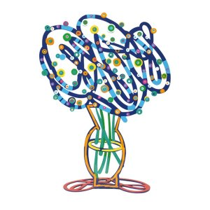 Free Standing Double Sided Flower Sculpture - Blue Bouquet by David Gerstein