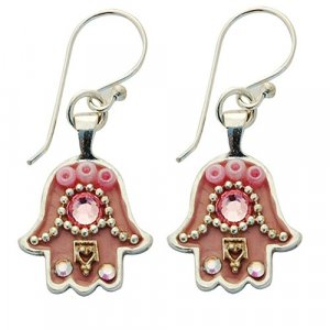 Hamsa Earrings in Pink by Ester Shahaf