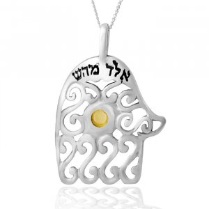 Hamsa Necklace with Kabbalah Blessing by Ha'Ari