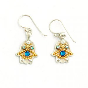 Hamsa Blue Stone Earrings by Ester Shahaf