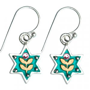 Ester Shahaf Earrings - Turquoise Star of David