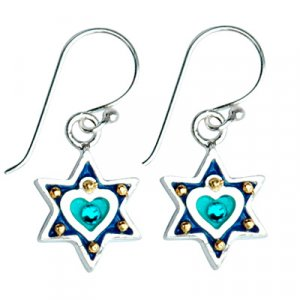Blue Heart Star of David Earrings - Ester Shahaf