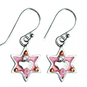 Pink Heart Star of David Earrings - Ester Shahaf