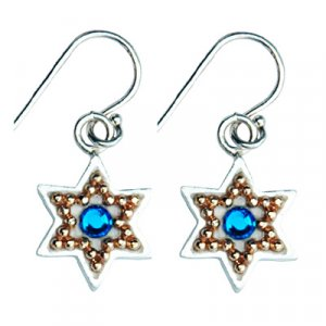 Blue Stone Star of David Earrings - Shahaf