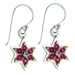 Ester Shahaf red and gold star of David earrings