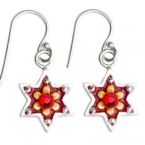 Silver Red Star of David Earrings - Ester Shahaf