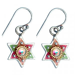 Multicolor Star of David Earrings - Shahaf
