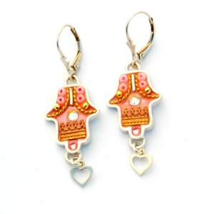 Hamsa Earrings with Heart Dangle - Ester Shahaf