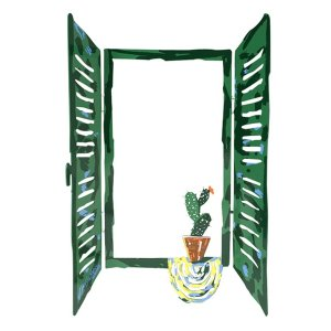 Free Standing Open Window Sculpture - Cactus in Plant Pot by David Gerstein