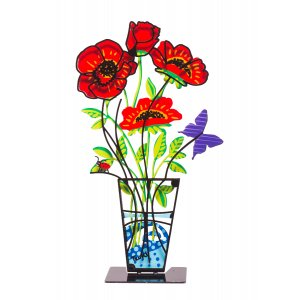Sculpture Hand Painted Anemones in Vase on Base, Red - Tzuki Art