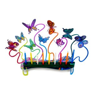 Laser Cut Metal Colorful Hanukkah Menorah, Fluttering Butterflies - David Gerstein