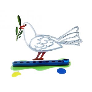 Laser Cut Metal White and Blue Hanukkah Menorah, Peace Dove - David Gerstein
