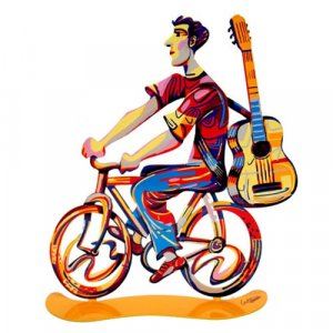 Troubadour Rider Free Standing Double Sided Bicycle Sculpture - David Gerstein