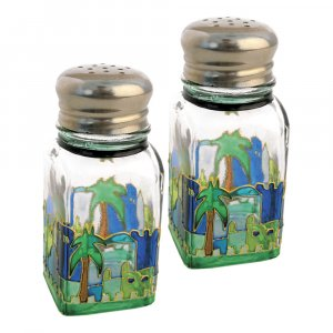 Glass Jerusalem Salt and Pepper Shakers