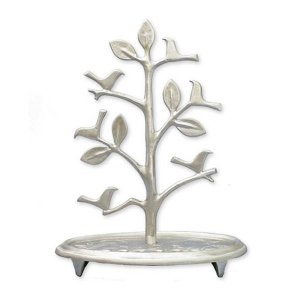 Circular Base Hanukkah Menorah Tree with Birds, Aluminum - Shraga Landesman