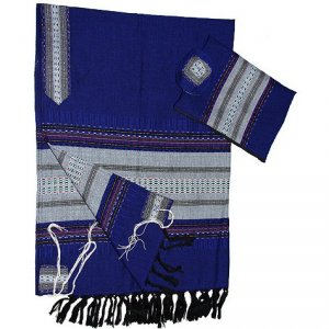Handwoven Wool Prayer Shawl Tallit Set Royal Blue with Gray Stripes - Gabrieli