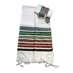 Handwoven White Prayer Shawl Set with Multicolor Joseph Coat Design - Gabrieli
