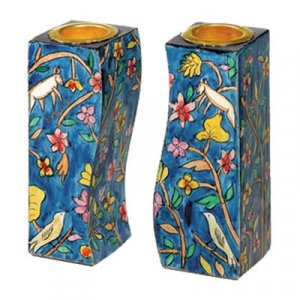 Hand-Painted Wood Fitted Candlesticks, Forest Scene - Yair Emanuel