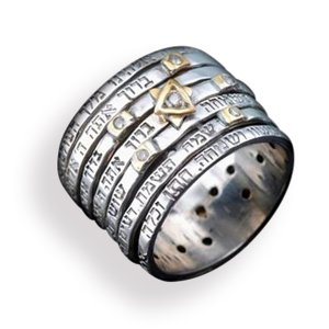 Seven Blessings Jewish Spinner Ring Silver Gold and Diamond Chips - Haari