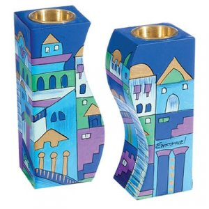 Blue Hand-Painted Wood Fitted Candlesticks - Jerusalem by Yair Emanuel