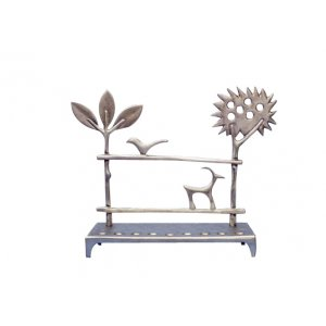 Aluminum Hanukkah Menorah - Trees and Deer by Shraga Landesman