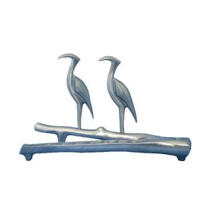 Hanukkah Menorah, Slender Herons Perched on Branch - Shraga Landesman