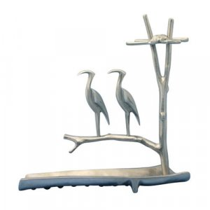 Hanukkah Menorah Herons on Tree with Waterway, Aluminum - Shraga Landesman