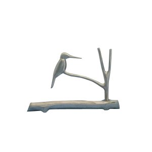 Hanukkah Menorah, Kingfisher Bird on Tree Branch - Shraga Landesman