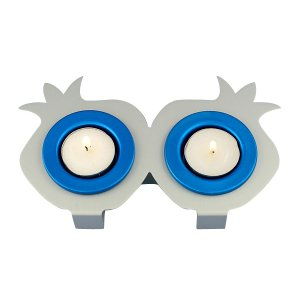 Shraga Landesman Joined Pair Pomegranate Candle Holders – Blue and Silver