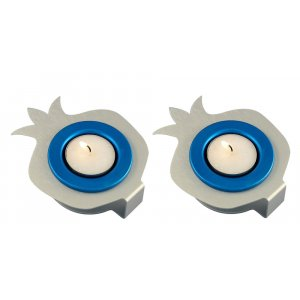 Pair Aluminum Pomegranate Candle Holders - Silver and Blue by Shraga Landesman