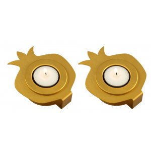 Pair Aluminum Pomegranate Candle Holders - Gold by Shraga Landesman