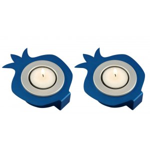 Pair Aluminum Pomegranate Candle Holders - Blue and Silver by Shraga Landesman