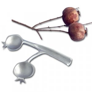 Pomegranate Shaped Double Spoons for Honey, Silver Nickel - Shraga Landesman