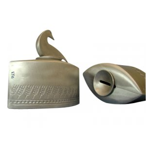 Cast Aluminum Charity Box Wheat Design - Duck Lid by Shraga Landesman
