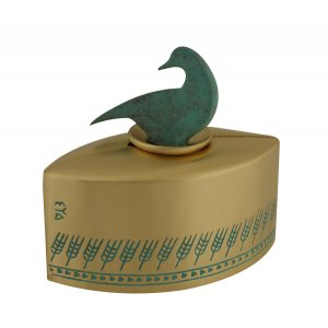 Brass Patina Charity Box Wheat Design - Turquoise Duck by Shraga Landesman