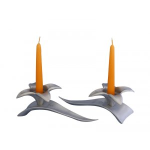 Flower Shaped Candle Holders on Leaf Base - Silver by Shraga Landesman