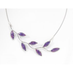 Purple Olive Leaf Branch Necklace by Adina Plastelina SALE PRICE - 1 LEFT IN STOCK !!