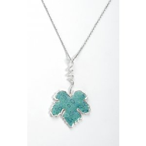 Turquoise Grape Leaf Necklace by Adina Plastelina SALE PRICE - 1 LEFT IN STOCK !!