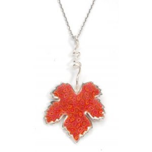 Coral Grape Leaf Necklace by Adina Plastelina SALE PRICE - 1 LEFT IN STOCK !!