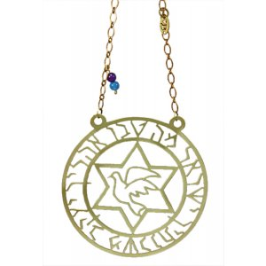 Brass Wall Hanging Dove in Star of David - Mah Tovu by Shraga Landesman