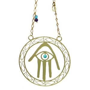 Brass Wall Hanging Hamsa Hand Blue Eye - Fish by Shraga Landesman