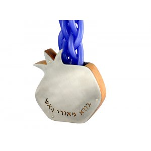 Pomegranate Candle Holder - Wood and Stainless Steel by Shraga Landesman
