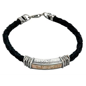 Leather Men's Shema Yisrael Jewish Bracelet