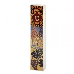 Lucite Mezuzah Case Colorful Aluminum Print - Seven Species by Dorit Judaica