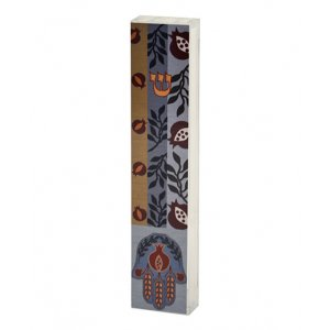 Lucite Mezuzah Case Colorful Aluminum Print - Hamsa & Pomegranates by Dorit Judaica