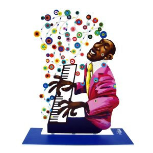 Free Standing Double Sided Music Sculpture - Piano Player by David Gerstein