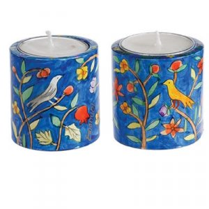 Small Hand Painted Wood Candlesticks, Birds & Pomegranates - Yair Emanuel