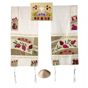 Embroidered Raw Silk Tallit Set Pomegranates, Gold - Yair Emanuel